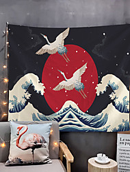 cheap -Japanese Painting Style Ukiyo-e Wall Tapestry Art Decor Blanket Curtain Hanging Home Bedroom Living Room Decoration Crane Wave Sun