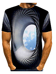 cheap -Men's T shirt Graphic Optical Illusion Print Short Sleeve Daily Tops Basic Blue Green Rose Red