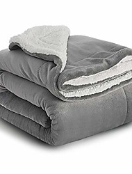 cheap -Sherpa Throw Blanket Silver Grey Travel/Single Size (130 x 150cm) Fleece Bed Throws Warm Reversible Microfiber Solid Blankets for Bed and Couch