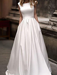 cheap -A-Line Wedding Dresses Jewel Neck Sweep / Brush Train Satin Sleeveless Simple with 2021