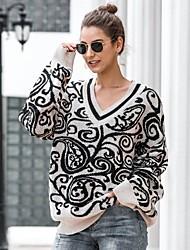 billige -Dame Geometrisk Langærmet Pullover Sweater Jumper, V-hals Vinter Sort En Størrelse