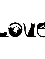 billige -kreativ kærlighed tegneserie kat vægklistermærke soveværelse hjem dekoration selvklæbende switch dørklistermærke