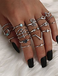 cheap -Ring Vintage Style Silver Alloy Leaf Alphabet Shape Moon Classic Vintage Trendy 20pcs 7 / Women's / Open Cuff Ring