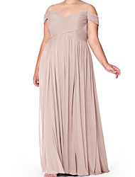 cheap -A-Line Spaghetti Strap Floor Length Chiffon Bridesmaid Dress with Pleats