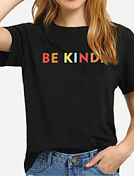 cheap -Women's Be kind T-shirt Letter Print Round Neck Tops 100% Cotton Basic Basic Top White Black Yellow