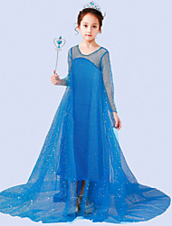 cheap -Princess Elsa Dress Flower Girl Dress Girls' Movie Cosplay A-Line Slip Vacation Dress White / Blue Dress Children's Day Masquerade Tulle Sequin Cotton
