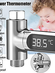 cheap -Digital Water Temperature Meter LED Shower Head 0-100 Thermometer Temperature Durabl - Silver