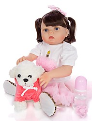 cheap -KEIUMI 22 inch Reborn Doll Baby & Toddler Toy Reborn Toddler Doll Baby Girl Gift Cute Washable Lovely Parent-Child Interaction Full Body Silicone 23D29-C177-T19 with Clothes and Accessories for