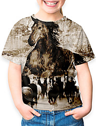 cheap -Kids Boys' Basic Horse Animal Print Short Sleeve Tee Khaki