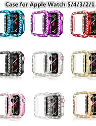 cheap -Double Rows Bling Diamonds Watch Case for Apple Watch Series 5/4/3/2/1 Shiny Cover Crystal Bumper PC Plated Hard Protective Frame