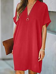 cheap -Women's A Line Dress Knee Length Dress Black Red Short Sleeve Solid Color Summer V Neck Hot Elegant 2021 S M L XL XXL