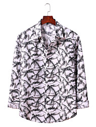 billige -Herre Grafisk Trykt mønster Skjorte Basale Daglig Weekend Hvid / Blå