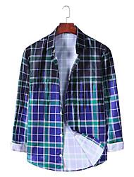 billige -Herre Ternet Skjorte Basale Punk & gotisk Daglig I-byen-tøj Sort / Blå