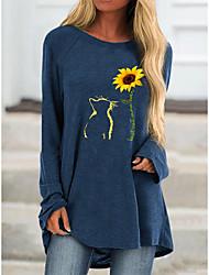cheap -Women's T shirt Dress Tunic T shirt Floral Flower Animal Long Sleeve Print Round Neck Basic Tops Fuchsia Navy Blue