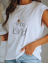 cheap -Women's Mom T-shirt Heart Letter Round Neck Tops Loose Cotton Basic Top White Black Red