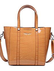 cheap -Women's PU Leather Bag Set Solid Color 2 Pieces Purse Set White / Black / Orange