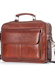 cheap -Men's Bags Cowhide Laptop Bag Briefcase Top Handle Bag Belt Zipper Handbags Office & Career Red Brown