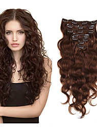 cheap -Clip In Hair Extensions Human Hair 7 pieces Pack Body Wave 14-22 inch Hair Extensions / 10A
