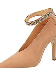 cheap -Women's Heels Summer Stiletto Heel Pointed Toe Daily Solid Colored PU Almond / Black / Pink