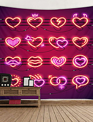 cheap -Valentine's Day Wall Tapestry Art Decor Blanket Curtain Hanging Home Bedroom Living Room Decoration Heart Neon Light