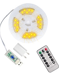 cheap -5M 50 LEDs Casing Waterproof String Lights  1 13Keys Remote  Controller  Configurable US EU UK Plug   Warm White Waterproof Outdoor USB 5 V Party Night Light 1 set