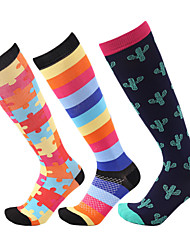 cheap -Athletic Sports Socks Hiking Socks Compression Socks Long Socks Knee high Socks 1 Pair Quick Dry Reduces Chafing Stripes Patchwork Nylon Autumn / Fall Spring Summer for Men's Women's Outdoor Rainbow
