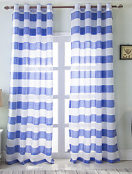 """cheap -Strip Sheer Curtains Kitchen Tiers Window Curtains Faux Linen Curtains, Sheer Panels Grey and Blue Drapes, 39""""*102"""" inch 1 Pc"""