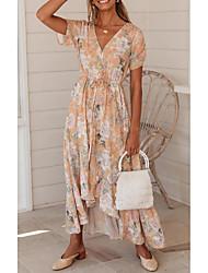 cheap -Women's Sundress Maxi long Dress Blushing Pink Short Sleeve Floral Print Summer V Neck Mumu 2021 S M L XL