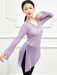 cheap -Ballet Top Bow(s) Split Women's Training Performance Long Sleeve High Stretch Yarn Polyester