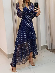 cheap -Women's Maxi long Dress - 3/4 Length Sleeve Polka Dot Print Summer V Neck Hot Casual vacation dresses Chiffon 2020 Navy Blue M L XL XXL 3XL