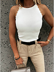 cheap -Women's Tank Top Solid Colored Round Neck Basic Tops Black Blushing Pink Light Brown