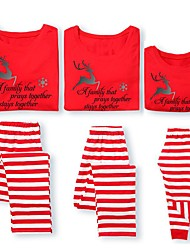 cheap -Family Look Family Matching Outfits 2 Piece Clothing Set Deer Striped Color Block Letter Long Sleeve Print Red Maxi Christmas Active Basic