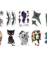 cheap -6 Sheets Randomly Tattoo Designs Temporary Tattoos Waterproof Tattoo Stickers Simulation Clock Cat Bird Woman Crown Flower Design Tattoo Stickers HB531-540
