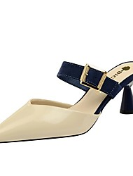 cheap -Women's Clogs & Mules / Slippers & Flip-Flops Summer Flare Heel Pointed Toe Daily Color Block PU Camel / Almond / White