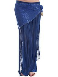 cheap -Belly Dance Skirts Tassel Paillette Women's Performance Daily Wear Natural Elastic Silk-like Satin