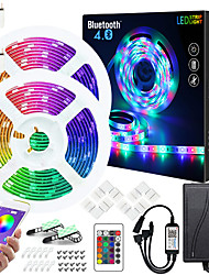 cheap -ZDM 50ft  2x7.5M Music Sync Colour Changing RGB LED Strip Lights 24-Key Remote Sensitive Built-in Mic Bluetooth App Controlled LED Lights 5050 RGB LED Light Strip Kit DC12V