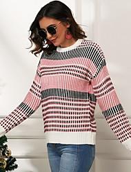 billige -Dame Ternet Langærmet Pullover Sweater Jumper, Bateau-hals Efterår Regnbue S / M / L