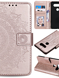 cheap -Phone Case For LG G3 G4 G5 G6 LG G7 K4 2017 k8 2017 K10 2017K10 2018 STYLO5 LG K40 LG G8S LG V60 V30 LG K50 Q60 Card Holder Flip Pattern Full Body Cases Flower leather