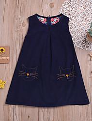 cheap -Kids Toddler Girls' Basic Cute Animal Embroidered Sleeveless Above Knee Dress Blue