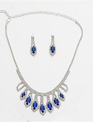 cheap -Women's White AAA Cubic Zirconia Stud Earrings Choker Necklace Bridal Jewelry Sets Tennis Chain Mini Stylish Luxury Earrings Jewelry Blue / Green / Royal Blue For Wedding Party Engagement 1 set