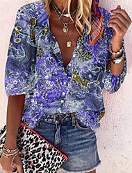 cheap -Women's Blouse Shirt Floral Geometric Flower Long Sleeve V Neck Tops Basic Top Blue Purple Blushing Pink