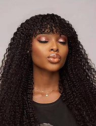 cheap -Human Hair Lace Front Wig With Bangs style Brazilian Hair Kinky Curly Black Wig 130% 150% Density Classic Women Fashion Women's Short Long Medium Length Human Hair Lace Wig Clytie
