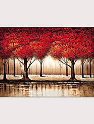 cheap -Large Abstract Forest Wall Art Hand Painted Modern Red Tree Oil Painting on Canvas Rolled Without Frame