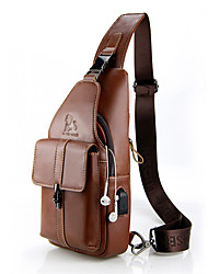 cheap -Men's Bags Nappa Leather Sling Shoulder Bag Chest Bag Zipper Holiday Outdoor Brown Gray