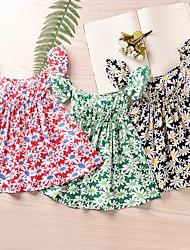 cheap -Kids Toddler Girls' Flower Cute Daisy Floral Print Short Sleeve Knee-length Dress Black