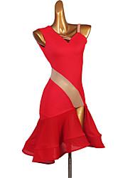 זול -ריקוד לטיני שמלה שסע מפרק מפוצל בגדי ריקוד נשים הצגה ללא שרוולים טבעי Chinlon שיפון