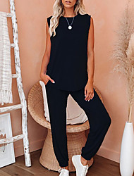 cheap -Women's Basic Solid Colored Two Piece Set Tank Top Tracksuit Pant Loungewear Tops