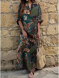 cheap -Women's Shift Dress Maxi long Dress - Long Sleeve Print Patchwork Print Spring Summer V Neck Casual Cotton Loose 2020 Red Green M L XL XXL 3XL 4XL 5XL