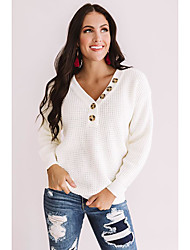 cheap -Women's Button Solid Colored Pullover Long Sleeve Loose Sweater Cardigans V Neck Fall Winter White