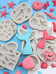 cheap -Sea Ocean Theme Silicone Mold Cake Decoration Turn Sugar Mermaid Fish Tail Shell Sea Star Chocolate Drop Glue Mold